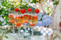 Summer Cocktail With Champagne, Peppermint And Fresh Strawberrie Royalty Free Stock Photo - 41007795