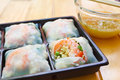 Fresh Noodle Spring Rolls With Shrimp And Vegetable. Royalty Free Stock Images - 41010989