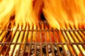 Hot BBQ Grill And Burning Charcoals With Bright Flame Stock Photos - 41023183