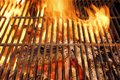 Hot BBQ Grill And Burning Charcoals With Bright Flame Royalty Free Stock Photography - 41024727