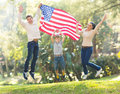 American Family Jumping Stock Photography - 41027082