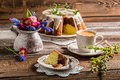 Easter Cake, Cup Of Coffee And Spring Flowers Stock Photo - 41044950