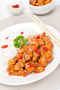 Chicken Fillet In Tomato Sauce With Sesame Seeds And Rice Royalty Free Stock Image - 41055356