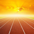 Running Track With One Lanes With Sky Sunset Royalty Free Stock Photos - 41061288