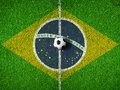 Center Of Soccer Pitch Or Field With Flag Of Brazil Stock Image - 41063521