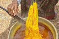 Dyeing Silk. Using Traditional Natural Materials Stock Image - 41066861