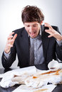 Businessman Spilled Coffee On The Very Important Documents Royalty Free Stock Image - 41073226