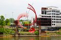 Beautiful Red Ladder Sculpture In Downtown Nashville Stock Images - 41075124