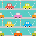 Seamless Pattern With Cartoon Car. Stock Photography - 41082412