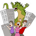 Monster Destroys City Royalty Free Stock Photo - 41097615