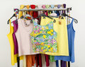 Cute Summer Tank Tops Displayed On A Rack. Royalty Free Stock Image - 41104756