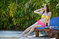 Pretty Girl In Fancy Bikni Around Pool Side Royalty Free Stock Image - 41118096