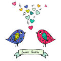 Two Colorful Birds, Hand-drawn With Hearts And Notes Stock Photography - 41133442