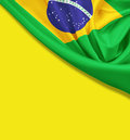 Flag Of Brazil On Yellow Background Royalty Free Stock Photos - 41141998