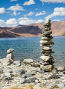 Pangong Tso Mountain Lake Panorama With Buddhist Stupas In Foref Royalty Free Stock Image - 41143126