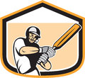 Cricket Player Batsman Batting Shield Cartoon Royalty Free Stock Image - 41143216