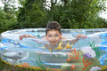 Boy Sitting In The Pool. Stock Images - 41155194