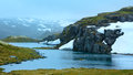 Summer Mountain With Lake And Snow (Norway) Stock Photos - 41158383
