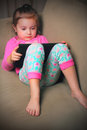 Cute Baby On IPad Stock Images - 41163874