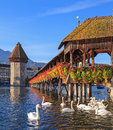 Lucerne, The Chapel Bridge In Early Morning Stock Images - 41165254