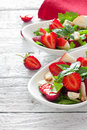 Salad With Strawberries,basil ,apple And Walnut Royalty Free Stock Photos - 41169458