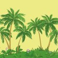 Palm Trees And Flowers, Seamless Stock Image - 41173161