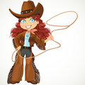 Brunette Curly Hair Cowgirl With Lasso Stock Photography - 41173372