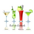 Favorite Cocktails Set, Isolated Stock Photos - 41174293