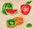 Fruit Watercolor Watermelon, Kiwi, Apple Red In Stock Photos - 41178343