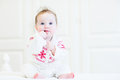 Sweet Baby Girl In A Scandinavian Knitted Sweater Stock Image - 41180481