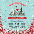 Bride And Groom On Reto Bicycle.Hearts,flowers Background Stock Image - 41190311
