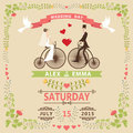 Wedding Invitation With Bride,groom,retro Bicycle,floral Frame Stock Image - 41190381