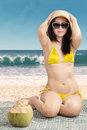 Sexy Woman Wearing Swimsuit On Beach Stock Photography - 41191442