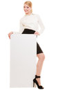 Ad. Businesswoman Holding Blank Copy Space Banner Royalty Free Stock Photography - 41192917