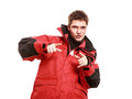 Young Man Sailor In Red Wind Jacket. Sailing. Stock Photography - 41192952