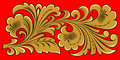 Golden Floral Ornament On Red Stock Image - 4123091
