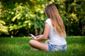 Teen Girl With Book Reader Royalty Free Stock Photography - 41211097