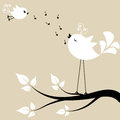 Two White Birds On A Branch Royalty Free Stock Photography - 41214327