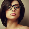Beautiful Makeup Fashion Girl In Modern Glasses Looking Stock Photos - 41215853