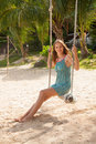 Girl Playing The Swing On Beach Royalty Free Stock Photography - 41232087
