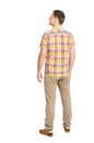 Back View Of Young Man In A Plaid Shirt And Jeans Looking Royalty Free Stock Photo - 41232295