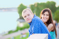 Happy Interracial Couple Standing Together Outdoors Royalty Free Stock Photo - 41232975