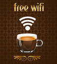 Coffee Poster With Free Wifi Message In Vector Eps Royalty Free Stock Image - 41237266