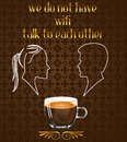 Coffee Poster With Silhouette Of Couple Talking In The Cafe And No Wifi Message In Vector Eps10 Royalty Free Stock Image - 41237286