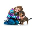 Happy Little Girl With Her ​​dachshund Royalty Free Stock Image - 41241966