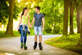 Love Couple Spending Free Time  Together On Roller Royalty Free Stock Images - 41251289