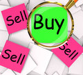 Buy Sell Post-It Papers Mean Buying And Selling Stock Image - 41252991
