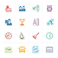 School & Education Icons Set 3 - Colored Series Royalty Free Stock Image - 41255216