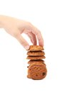 Hand Holds Oatmeal Cookies With Raisins. Stock Image - 41261961