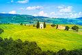Tuscany Landscape, Vitaleta Chapel, Little Church In Val D Orcia Stock Photos - 41285703